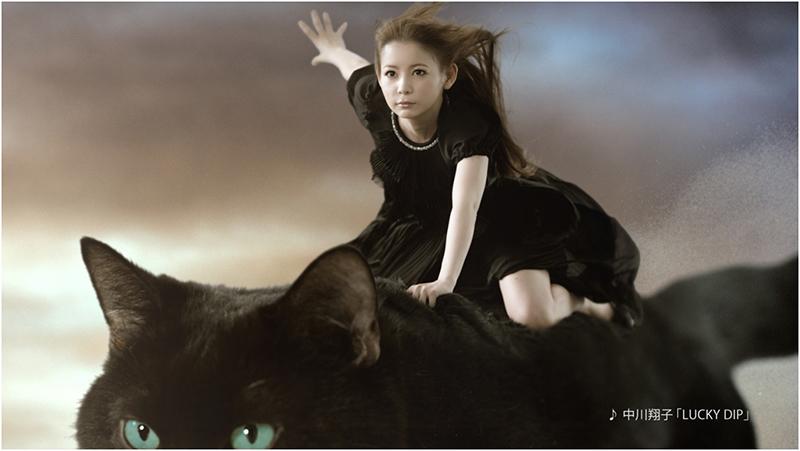黒猫にのり駆けるカッコいい表情の中川翔子