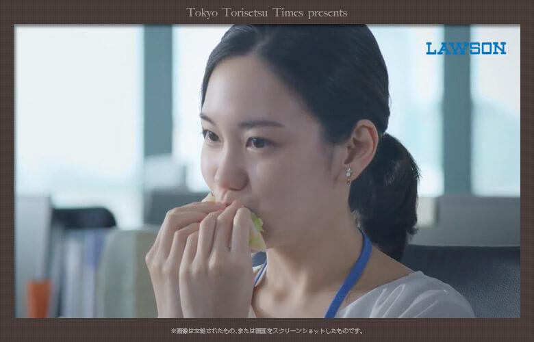 ローソンサンドイッチ革命新CMサンドイッチを食べるOLは誰?朝のオフィスでひとり朝食!